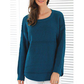Loose Fit Pullover Sweater - PEACOCK BLUE PEACOCK BLUE