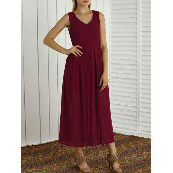 Bohemian Sleeveless V Neck Slit Maxi Dress - WINE RED L
