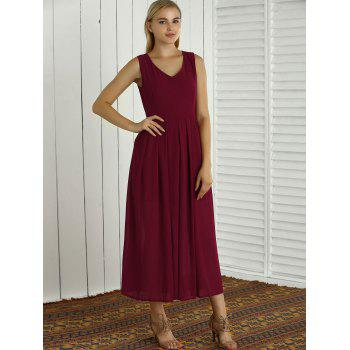 Bohemian Sleeveless V Neck Slit Maxi Dress - L L