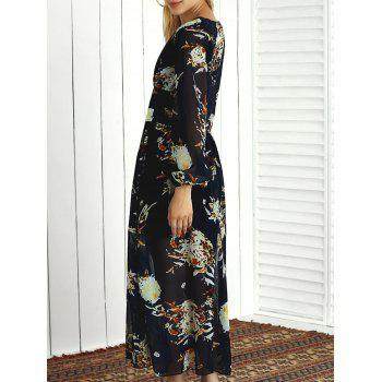 Long Sleeve Printed V Neck Maxi Dress - PURPLISH BLUE L
