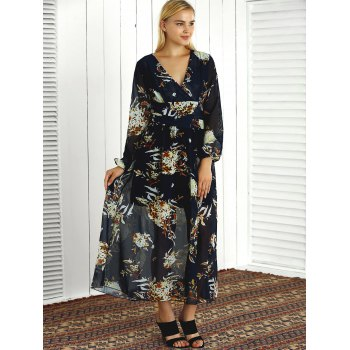 Long Sleeve Printed V Neck Maxi Dress - L L