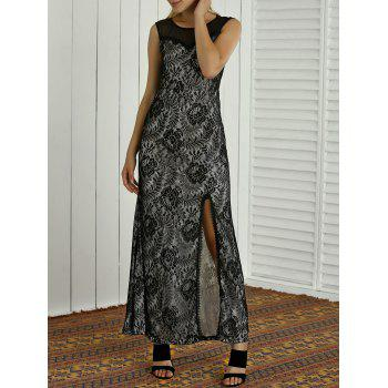 Mesh Spliced Semi Sheer Lace Embroidered Slit Maxi Dress - BLACK XL