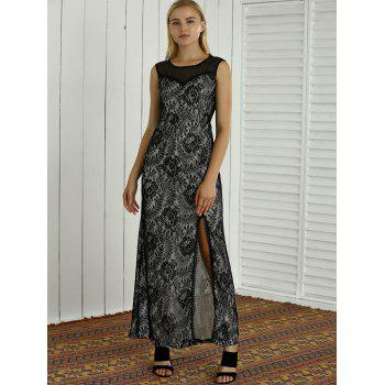 Mesh Spliced Semi Sheer Lace Embroidered Slit Maxi Dress - XL XL