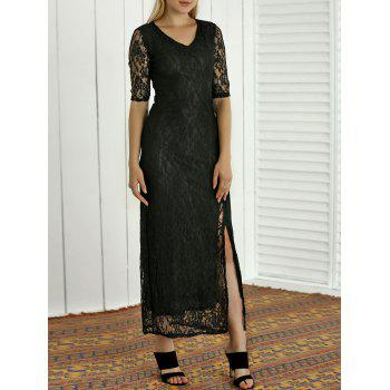 Semi Sheer Lace Embroidered Slit Maxi Dress - BLACK M