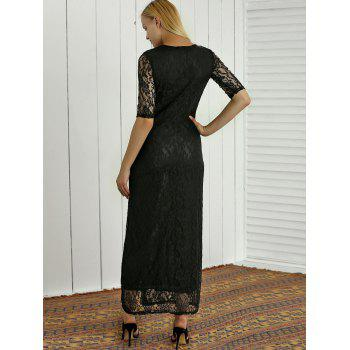 Semi Sheer Lace Embroidered Slit Maxi Dress - M M