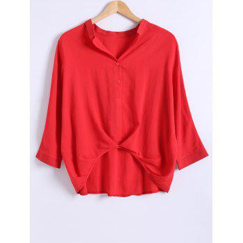 Loose Fitted  Ruched High Low Shirt