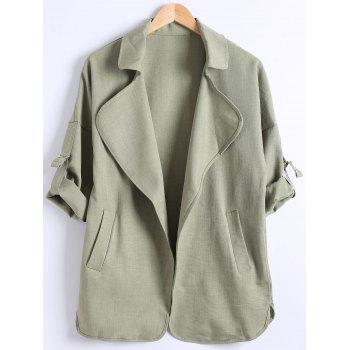 Plus Size Turn Down Collar Pocket Epaulet Design Trench Coat