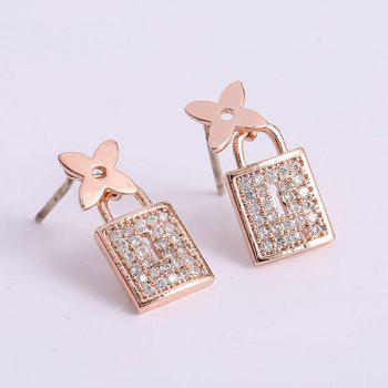 Pair of Rhinestone Flower Lock Earrings