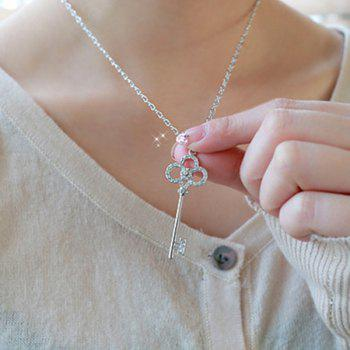 Rhinestoned Key Pendant Sweater Chain