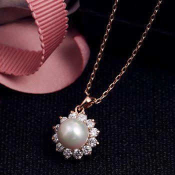 Sunflower Rhinestone Faux Pearl Necklace - ROSE GOLD