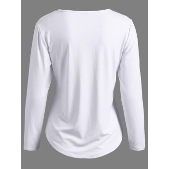 Lace-Up Long Sleeve T-Shirt - WHITE XL
