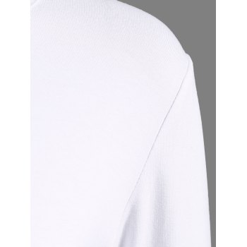 Lace-Up Long Sleeve T-Shirt - WHITE L