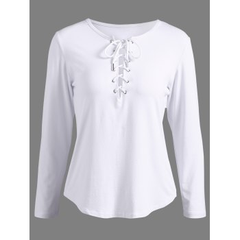 Lace-Up Long Sleeve T-Shirt
