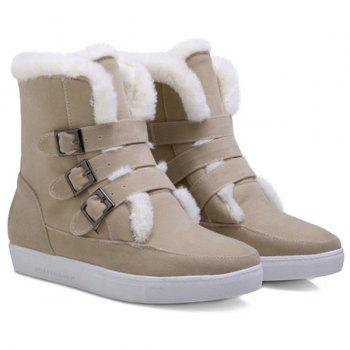 Buckle Woolen Suede Snow Ankle Boots