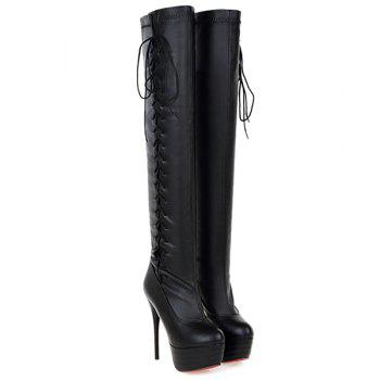 Super High Heel Tie Up Platform Boots