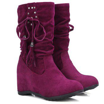Rivet Slip On Suede Wedged Tassels Short Boots