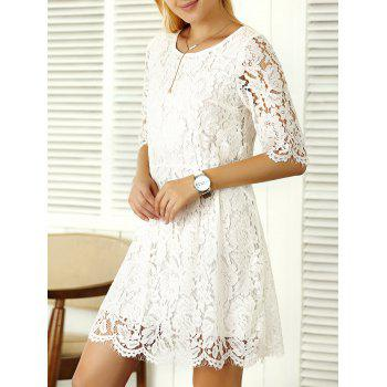 Elbow Sleeve A Line Lace Dress