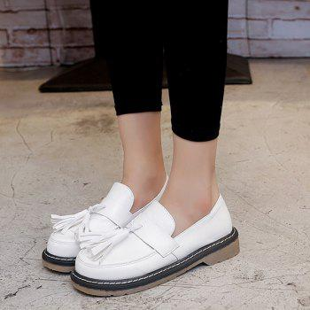 Preppy Tassel bout rond Chaussures plates - Blanc 39