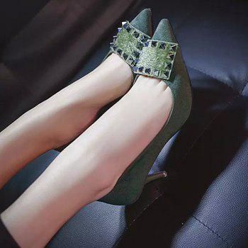 Rivet Suede Pointed Toe Pumps - ARMY GREEN 37