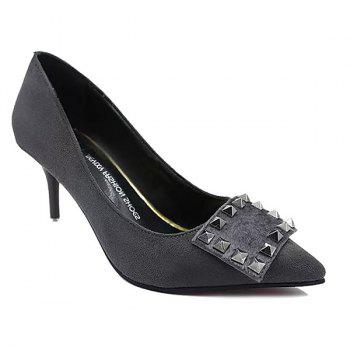 Rivet Suede Pointed Toe Pumps