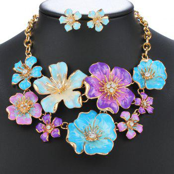 Winter Collocation Flower Rhinestone Fake Collar Necklace Earrings