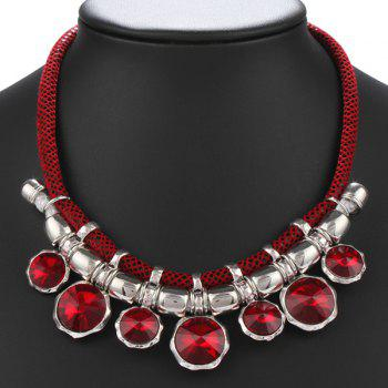 Autumn Collocation Faux Ruby Inlay Mesh Necklace