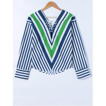 Striped Lace-Up Blouse
