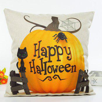 Pumpkin Cat Happy Halloween Letter Cushion Pillow Case
