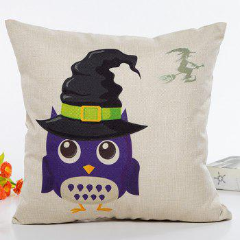 Halloween Owl Witch Hat Cartoon Sofa Cushion Pillow Case
