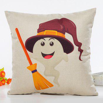 Halloween Ghost Witch Besom Cartoon Sofa Cushion Pillow Case