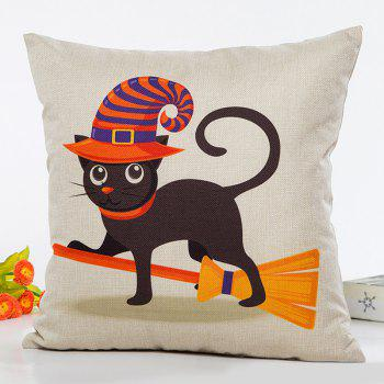Halloween Cat Witch Cartoon Sofa Cushion Square Pillow Case