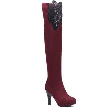 Cone Heel Suede Embroidery Thigh Boots
