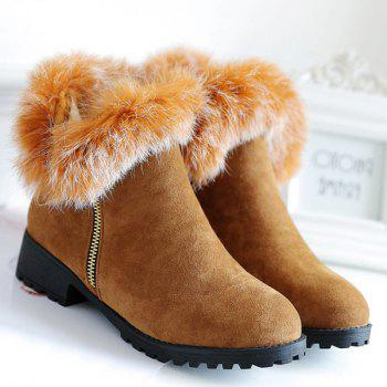Faux Fur Zipper Suede Short Boots