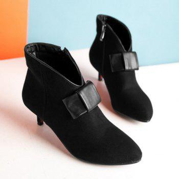 Zipper Suede Bowknot Ankle Boots