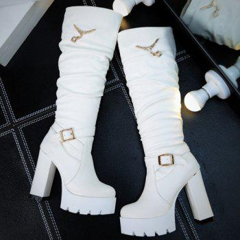 Rhinestones Buckle Strap Knee High Boots