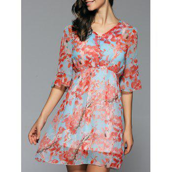 V Neck Flounced Floral Chiffon Dress Twinset