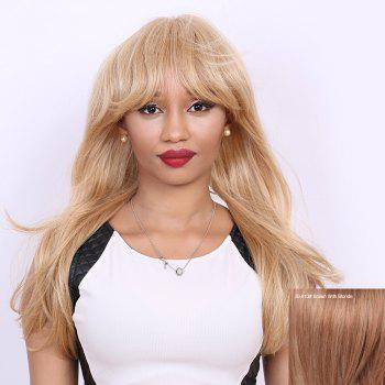 Neat Bang Long Natural Straight Human Hair Wig