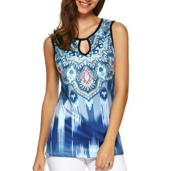 Tribal Print Hollow Out Open Back Tank Top