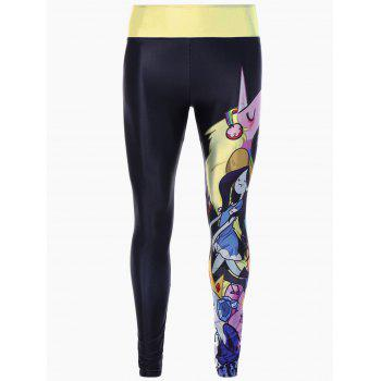 Skinny Cartoon Adventure Time Print Gym Leggings