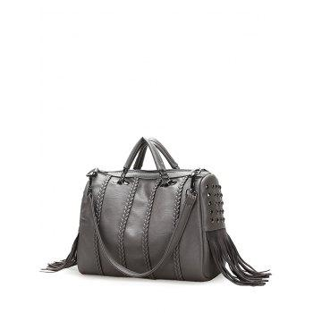 Rivet Fringe Braid Tote Bag