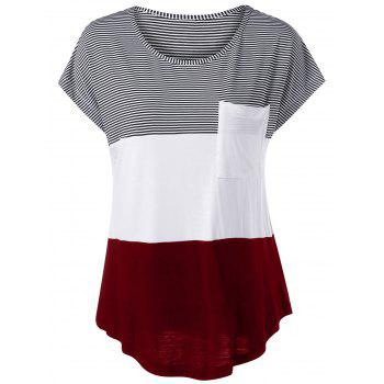 Cap Sleeve Color Block Asymmetrical T-Shirt