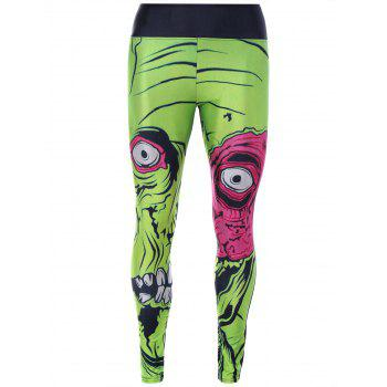 Green 3D Monster Print Skinny Sporty Leggings