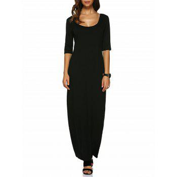 U Neck Fitted Long Dress