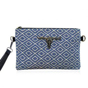 Colour Splicing Metal Geometric Pattern Clutch Bag