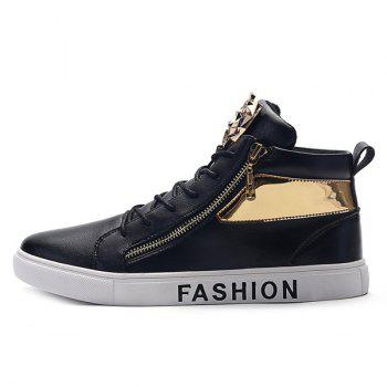 Metal Colour Block Tie Up Casual Shoes - BLACK 42