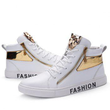 Metal Colour Block Tie Up Casual Shoes - WHITE 44