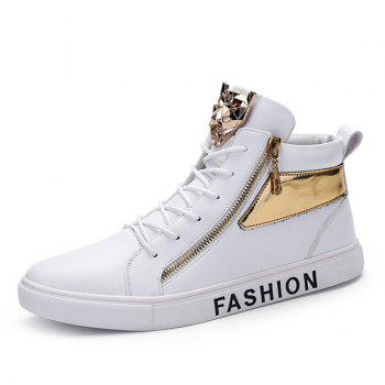 Metal Colour Block Tie Up Casual Shoes - WHITE 42