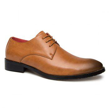Point Toe Tie Up Leather Casual Shoes