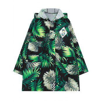 Hooded Long Sleeve Leaf Print Coat