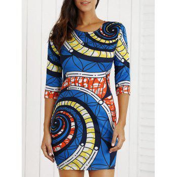 Geometric Printed Color Block Mini Bodycon Dress - BLUE S